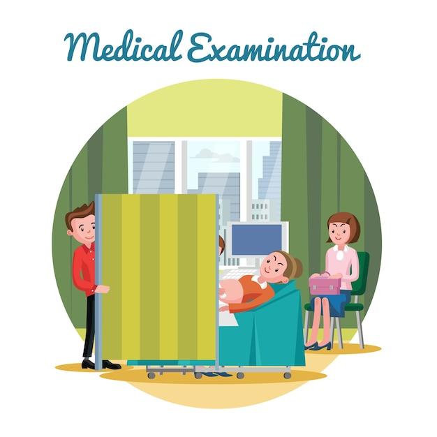 Medical ultrasound diagnostic procedure Free Vector