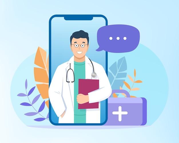 Illustrazione di consultazione di videochiamata medica Vettore gratuito