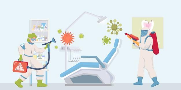 防護服とフェイスマスクの医療従事者は、患者がフラットの図を訪問した後、病院の表面を消毒します。 Premiumベクター