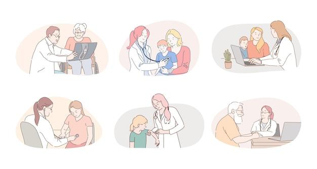Medicare, здравоохранение, терапевты, педиатры, рабочая концепция. Premium векторы