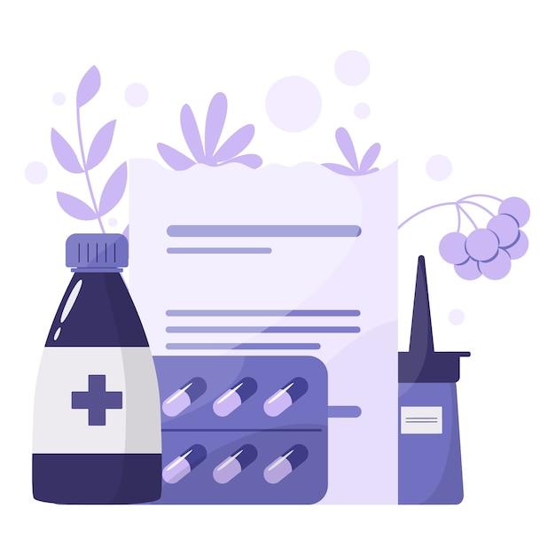 薬と健康管理のコンセプトです。薬局の薬のボトルとボックスのコレクション。薬と処方箋フォーム。ドラッグストアと薬剤師のコンセプトです。 Premiumベクター