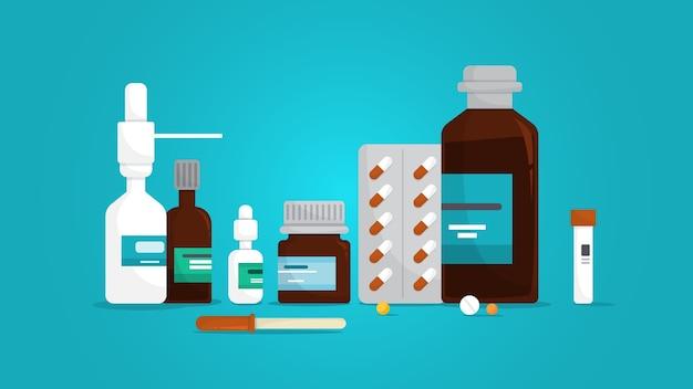 薬セット。瓶の中の薬局の薬のコレクション。病気の治療のための薬。ドラッグストアのコンセプト。図 Premiumベクター