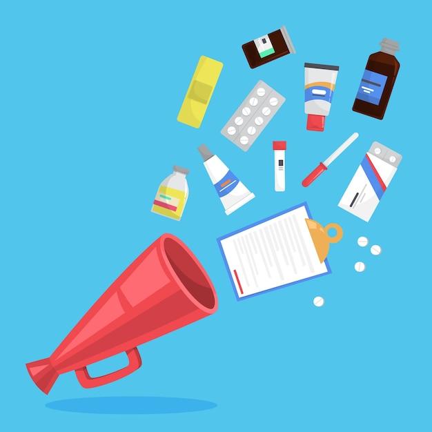 薬セット。瓶の中の薬局の薬のコレクション Premiumベクター