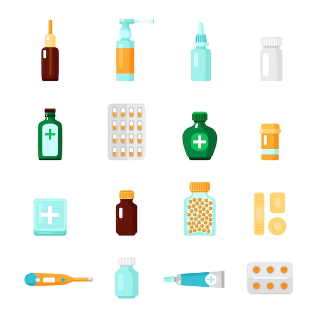 Medications icon set Free Vector