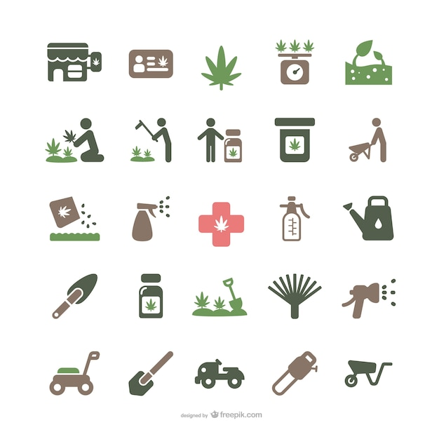 Medicinal marijuana and gardening icons Free Vector