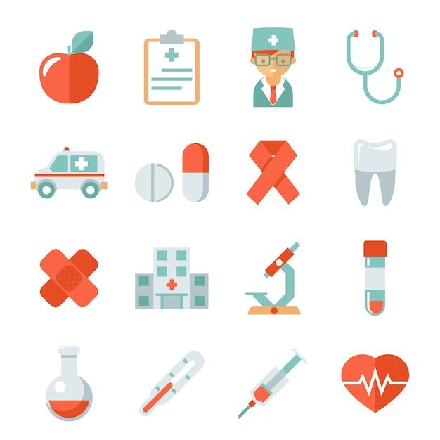 医学とヘルスケアのアイコン。病院と医師、リンゴと歯、フラスコと石膏、心拍と顕微鏡、ベクトル図 無料ベクター