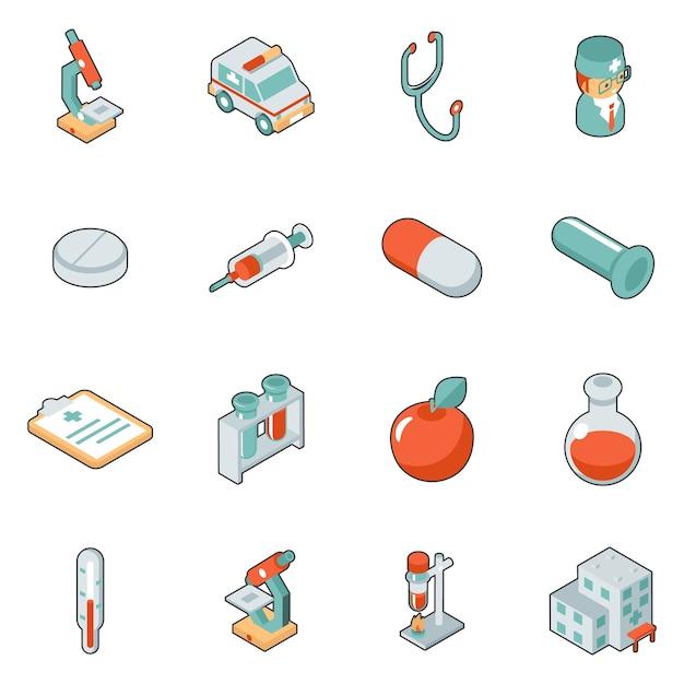 Медицина и здравоохранение изометрические 3d иконки. символ медицинский набор, больница и неотложная помощь, векторные иллюстрации Бесплатные векторы