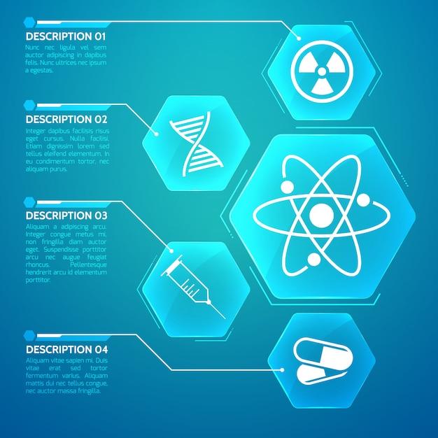 Медицинский синий плакат с генетическим кодом и символами науки плоской иллюстрации Бесплатные векторы