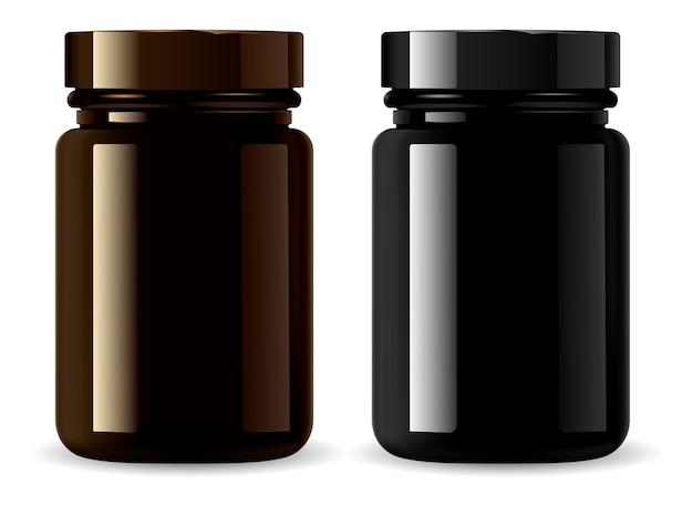 Medicine bottle . black cosmetic packaging Premium Vector