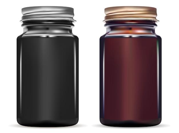 Medicine bottle. glossy black glass jar mockup set Premium Vector