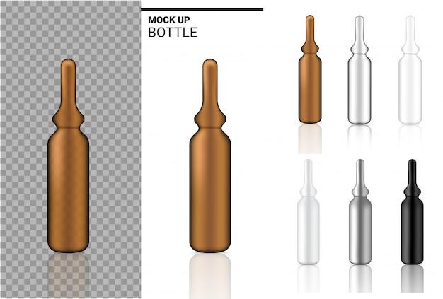 薬瓶は現実的なアンプルまたは点滴器のプラスチック包装を模擬する。白い背景の上の食品およびヘルスケア製品のため。 Premiumベクター