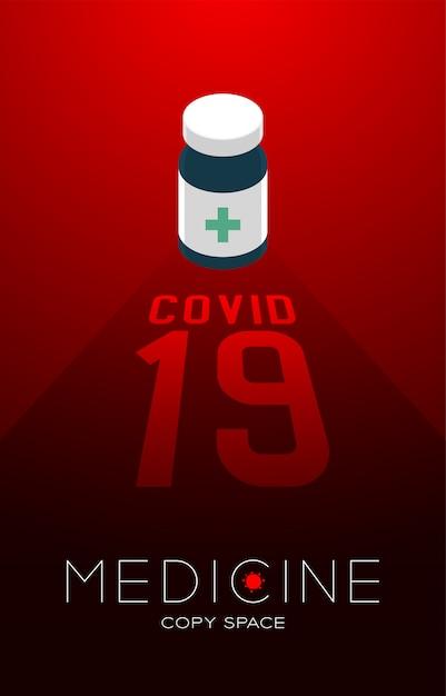 Бутылочка с тенью и текстом covid-19 Premium векторы