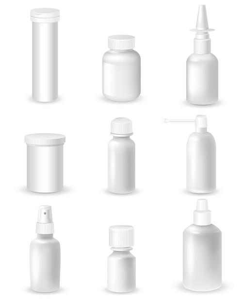Medicine bottles set Free Vector