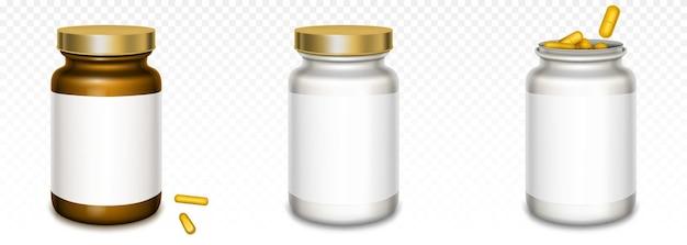 Bottiglie di medicina con coperchi dorati e pillole gialle isolate su trasparente Vettore gratuito