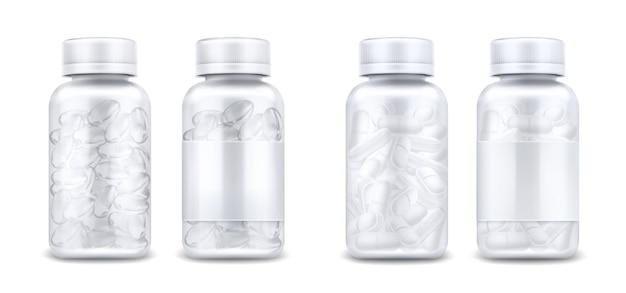 Bottiglie di medicina con pillole e capsule trasparenti isolati su priorità bassa bianca. mockup realistico di vettore di contenitore trasparente in vetro o plastica con etichetta vuota e coperchio. barattoli 3d con farmaci Vettore gratuito