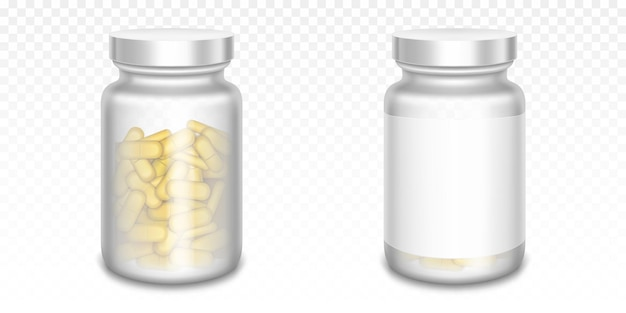 Medicine bottles with yellow pills isolated on transparent Free Vector