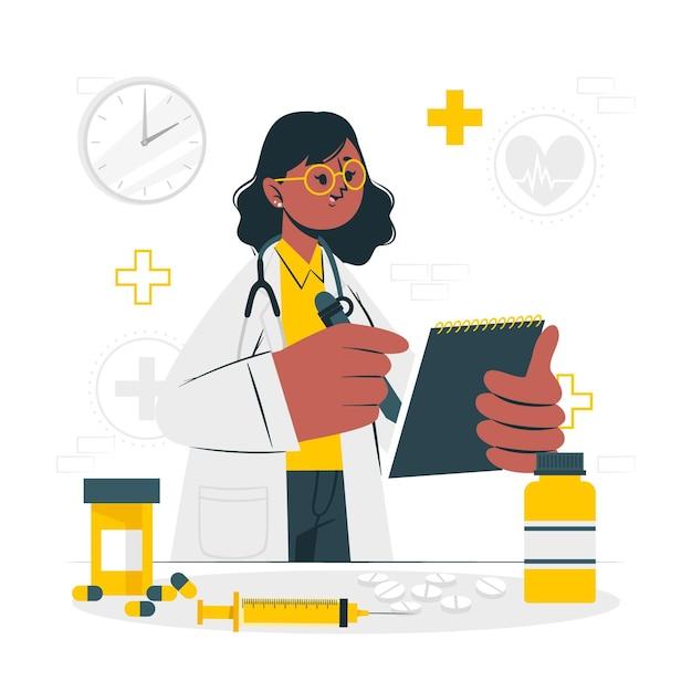 Иллюстрация концепции медицины Бесплатные векторы