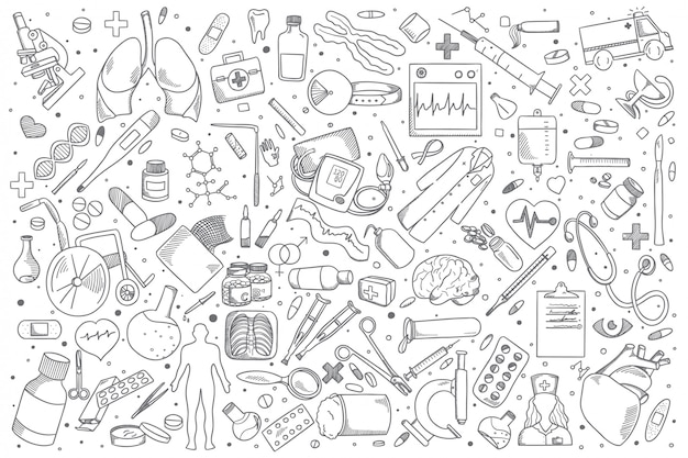Medicine doodle set Premium Vector