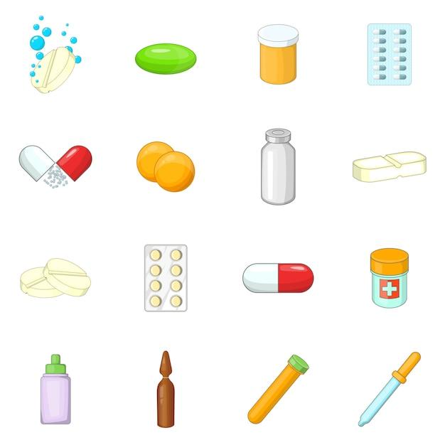 Medicine drugs icons set Premium Vector