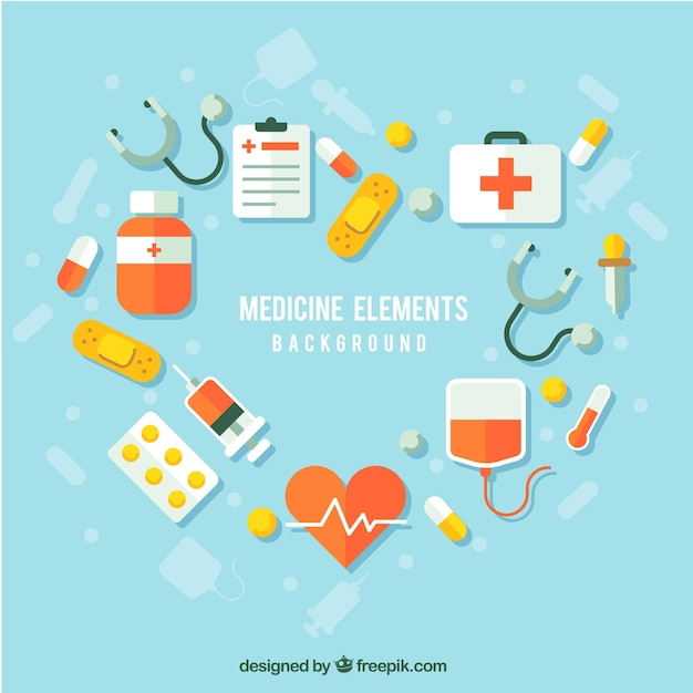 Medicine elements background in flat style Premium Vector