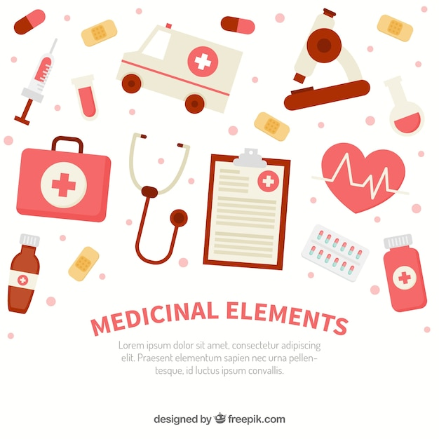 Medicine elements background in flat style vector free download medicine elements background in flat style free vector stopboris Images