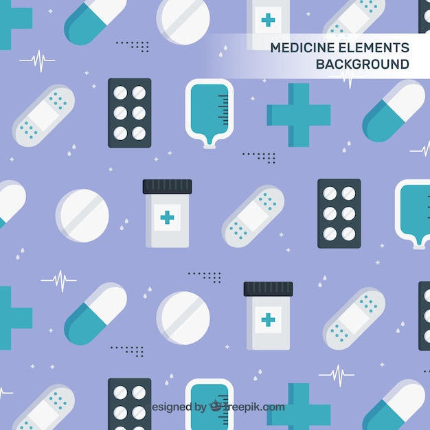 Medicine elements background in flat style Free Vector