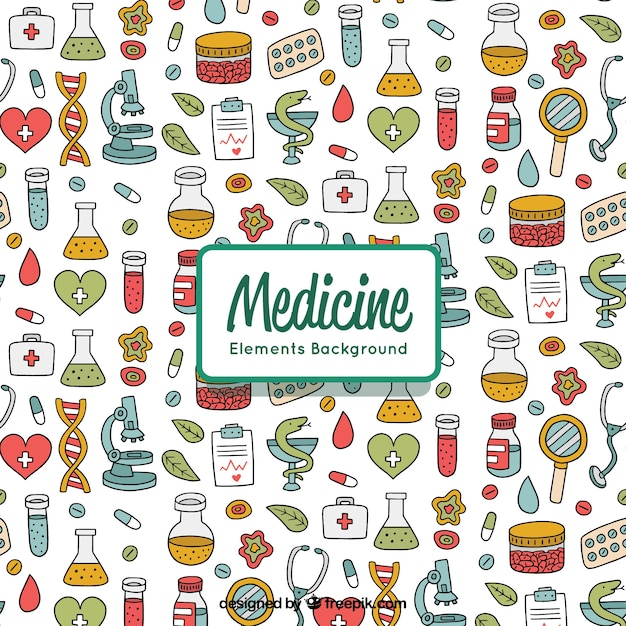 Medicine elements background in hand drawn style Free Vector