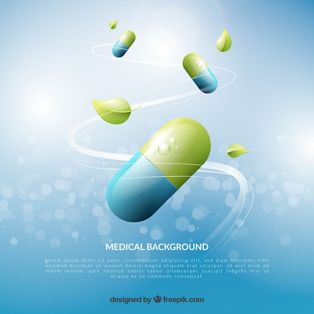 Medicine elements background in realistic style Free Vector