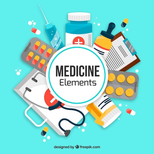 Medicine elements background Free Vector
