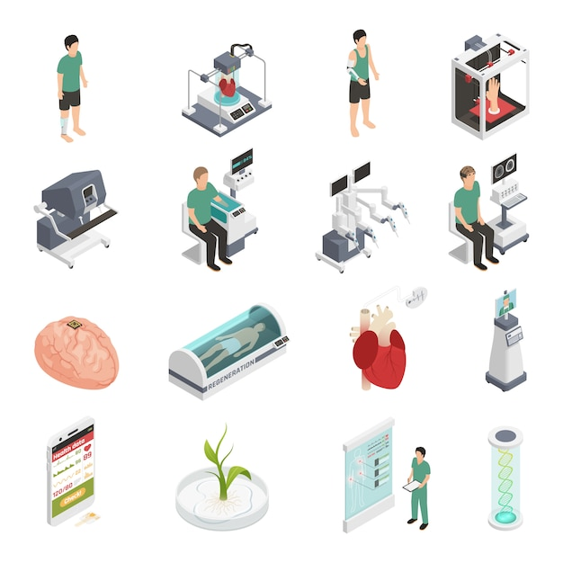 Medicine future technology icons Free Vector