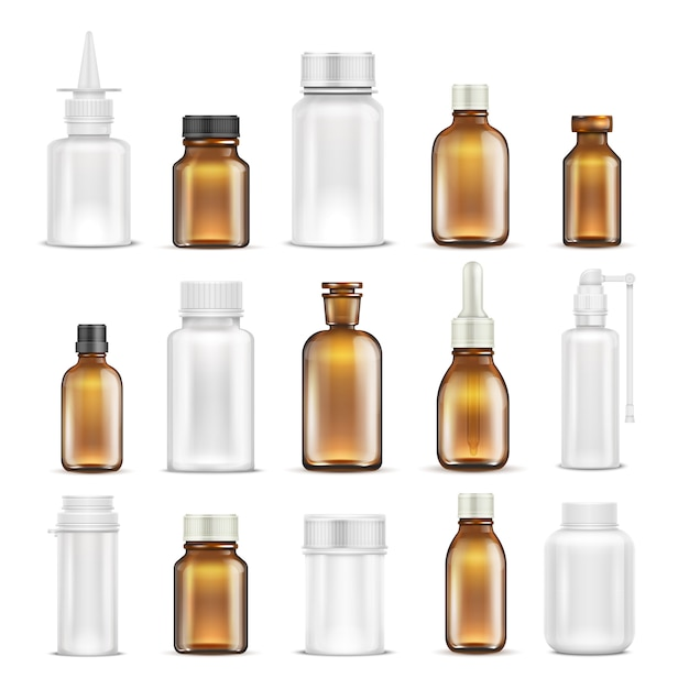 Medicine glass and plastic blank bottles isolated set. bottle medicine container Premium Vector