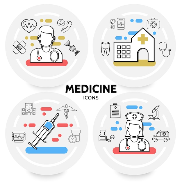 Medicine and healthcare concept with doctor nurse hospital syringe dna stethoscope microscope Free Vector