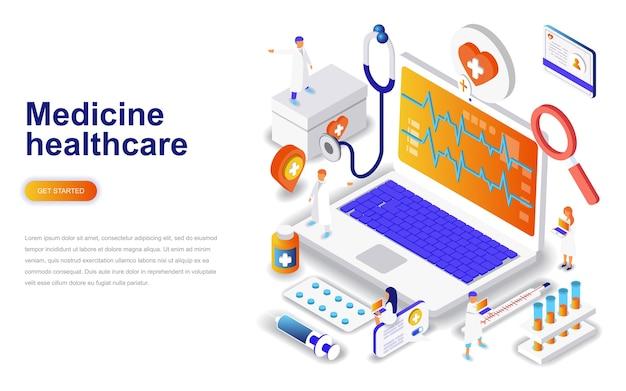 Medicine and healthcare modern flat design Premium Vector