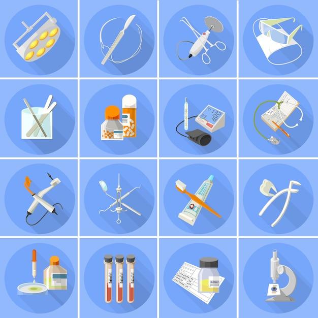 Medicine icons set  flat Free Vector