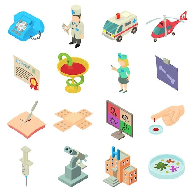 Medicine icons set. isometric illustration of 16 medicine vector icons for web Premium Vector
