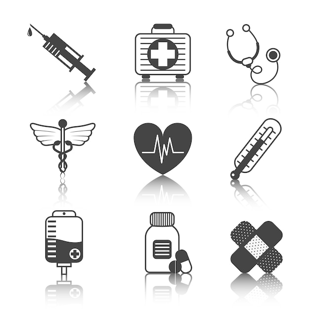 Medicine icons set Premium Vector