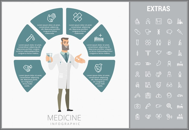 Medicine infographic template, elements and icons. Premium Vector