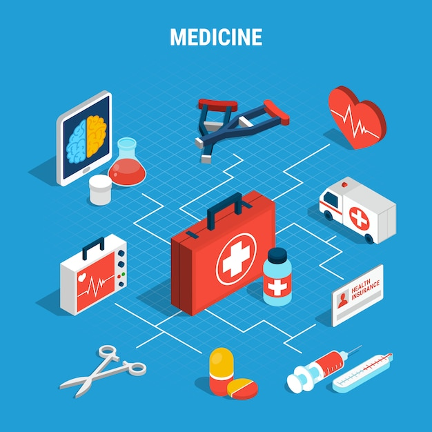 Medicine isometric flowchart Free Vector