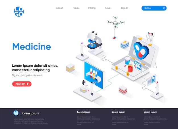 Медицинский изометрический шаблон целевой страницы Premium векторы