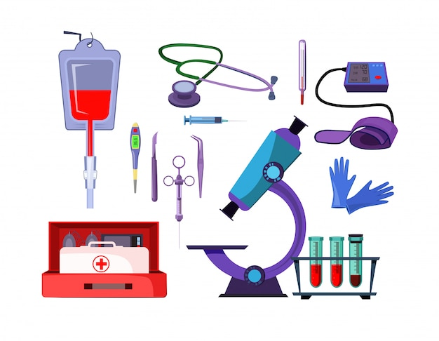 Medicine items illustration set Free Vector