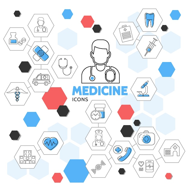 Medicine line icons in hexagons collection with doctor nurse pills ambulance car tooth medical equipment Free Vector
