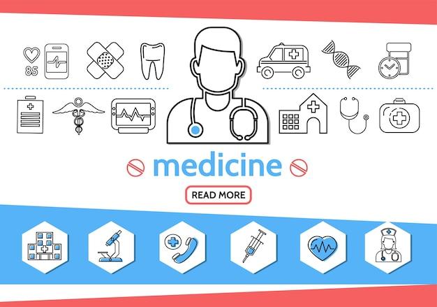 Linea di medicina set di icone con medico infermiere siringa microscopio dente ambulanza auto dna pillole caduceo Vettore gratuito