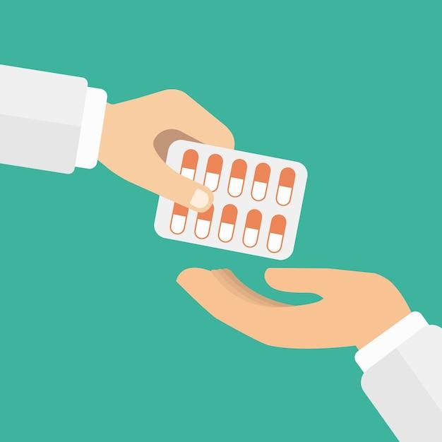 Медикаментозные таблетки в блистере Бесплатные векторы