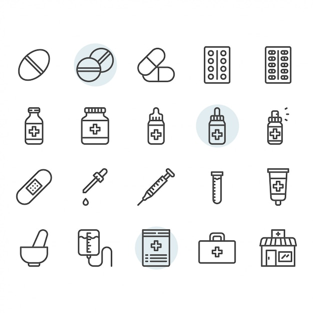 Medicine related icon and symbol set in outline Premium Vector