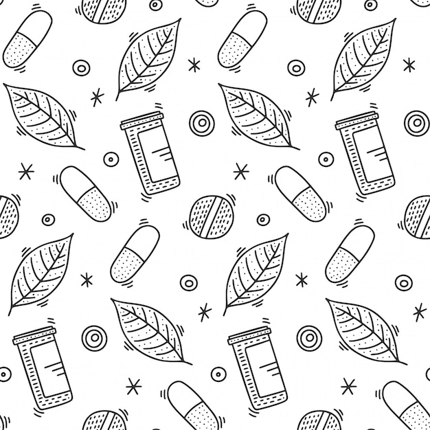 Medicine seamless pattern in doodle style Premium Vector
