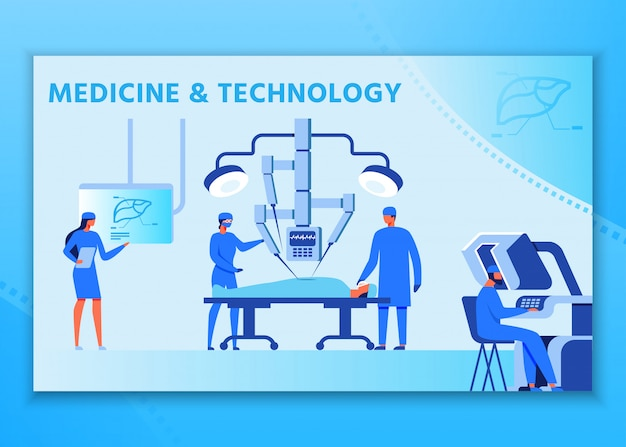 Medicine and technology advertising people poster Premium Vector
