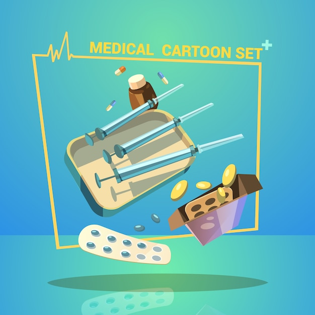 Medicine and treatment cartoon set with pills capsules and syringes Free Vector