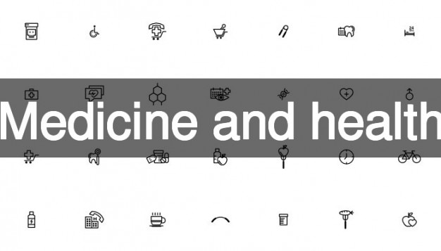 Medicine with health icons