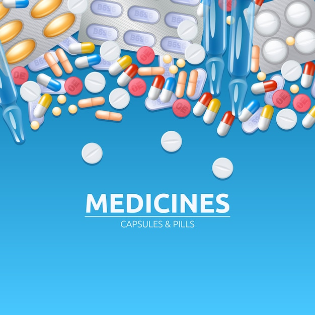Medicines background with colored pills tablets and capsules Free Vector