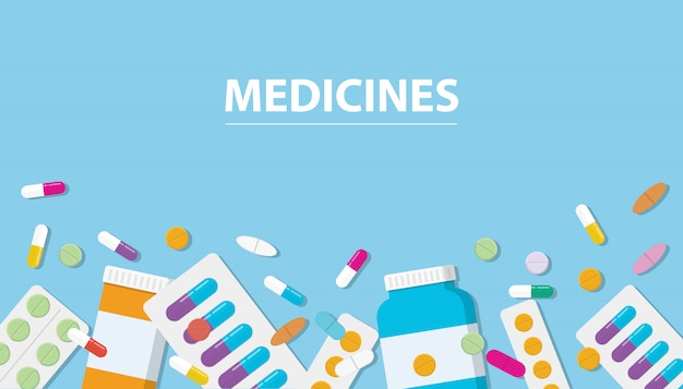 Medicines drug collection with banner free space Premium Vector